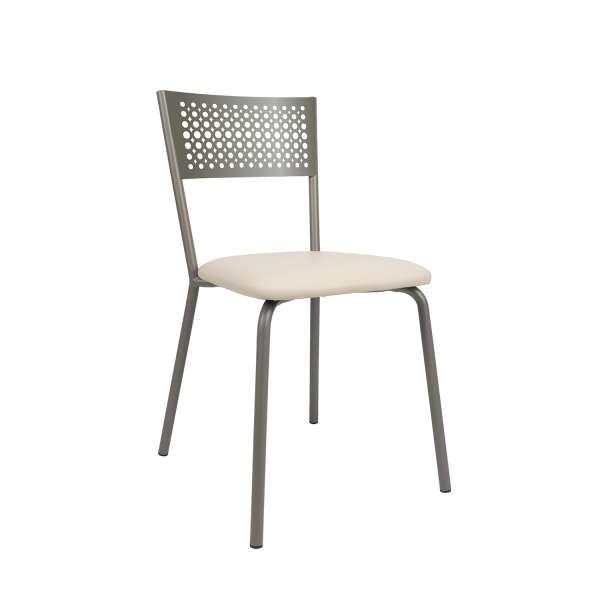 Chaise avec dossier à motifs et assise synthétique beige - Maria - 2