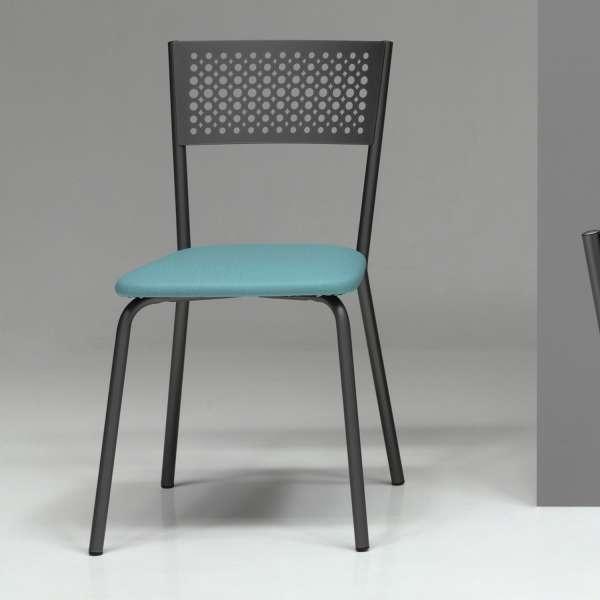 Chaise de cuisine rembourrée avec dossier à motifs et assise synthétique turquoise - Maria - 3