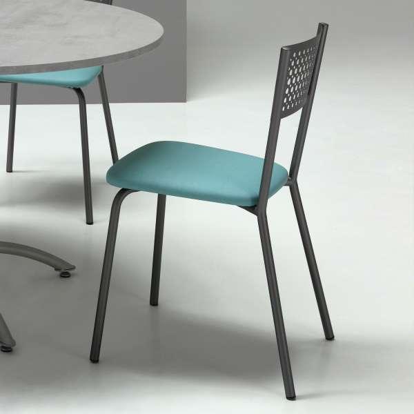 Chaise de cuisine avec dossier à motifs et assise synthétique - Maria - 4
