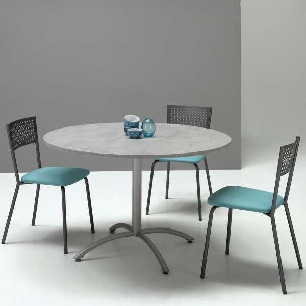 Chaise avec dossier à motifs et assise rembourrée en synthétique turquoise - Maria - 5