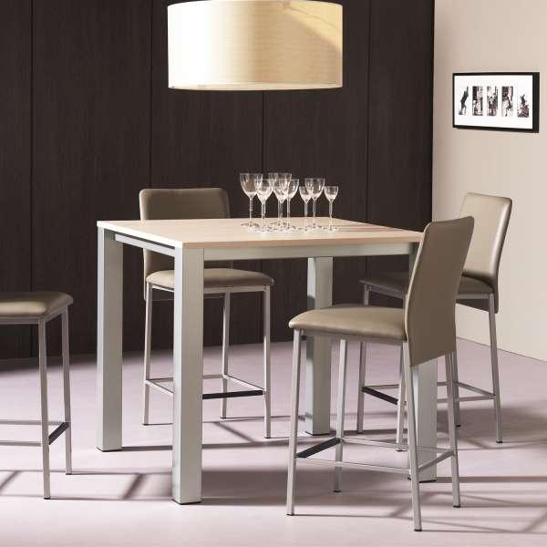 Table snack de cuisine carrée en mélaminé et métal - Costa - 1