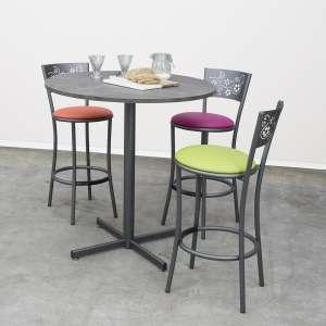 Table snack de cuisine ronde en mélaminé et métal - Voyager