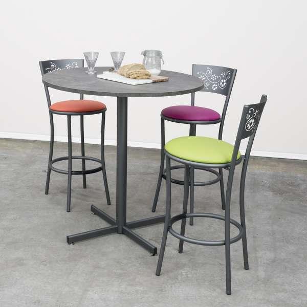 Table snack de cuisine ronde en mélaminé et métal - Voyager - 1