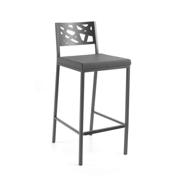 Tabouret snack assise rembourrée grise avec dossier aux motifs géométriques ajourés - Tirza - 1