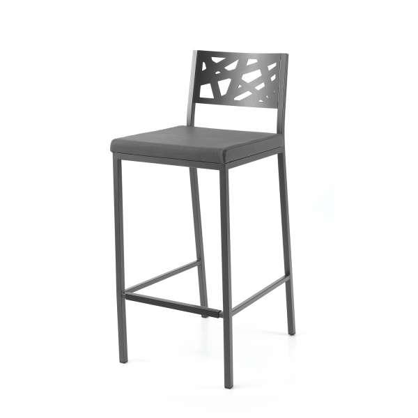 Tabouret hauteur 65 cm assise rembourrée avec dossier aux motifs géométriques ajourés - Tirza - 2