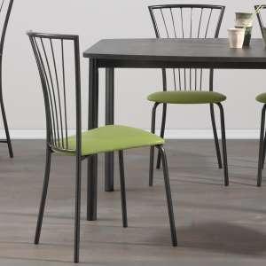 Chaise de cuisine en synthétique vert 27017 et métal noir - Jana