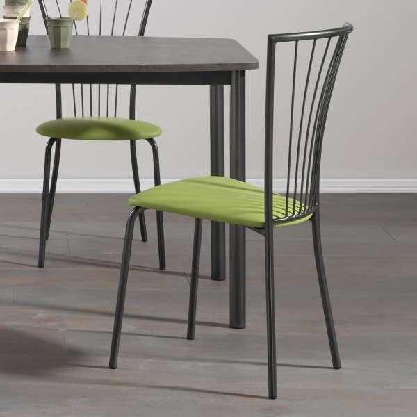Chaise de cuisine en vinyle vert et métal noir - Jana - 2