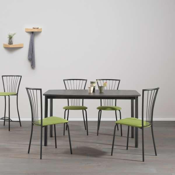 Chaise de cuisine en vinyle vert et pieds en métal noir - Jana - 3