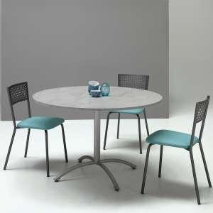 Table ronde pied central extensible en mélaminé gris et métal gris - Rio Twin