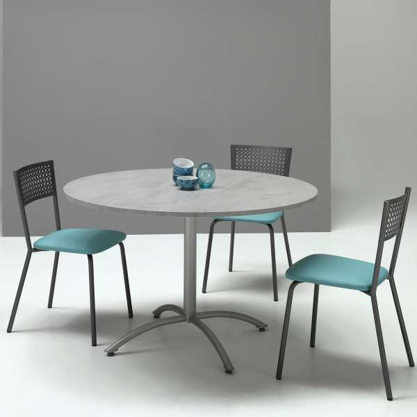 Table Ronde Pied Central Extensible En Melamine Et Metal Rio Twin