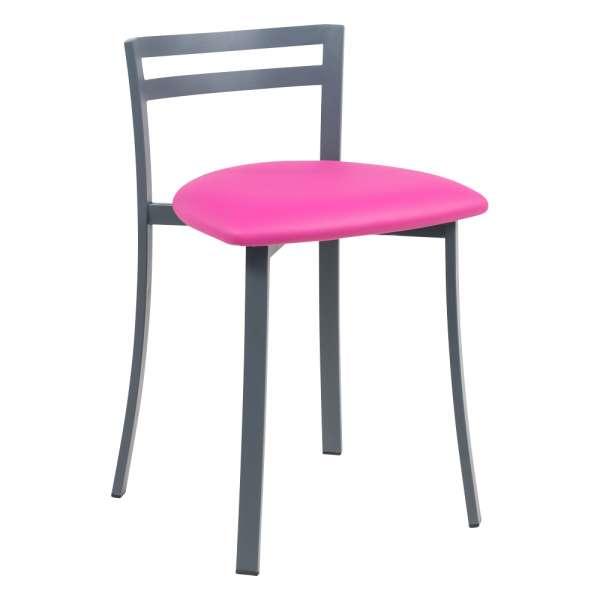 Chaise avec dossier bas en synthétique rose et métal noir - Urane - 1