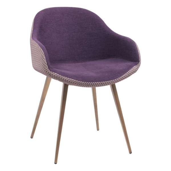 Fauteuil design bicolore en tissu violet et métal laqué bronze - Sonny Midj® - 1