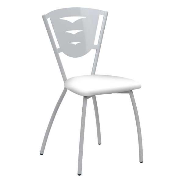Chaise de cuisine en métal blanc fabriquée en France - Hévéa - 1