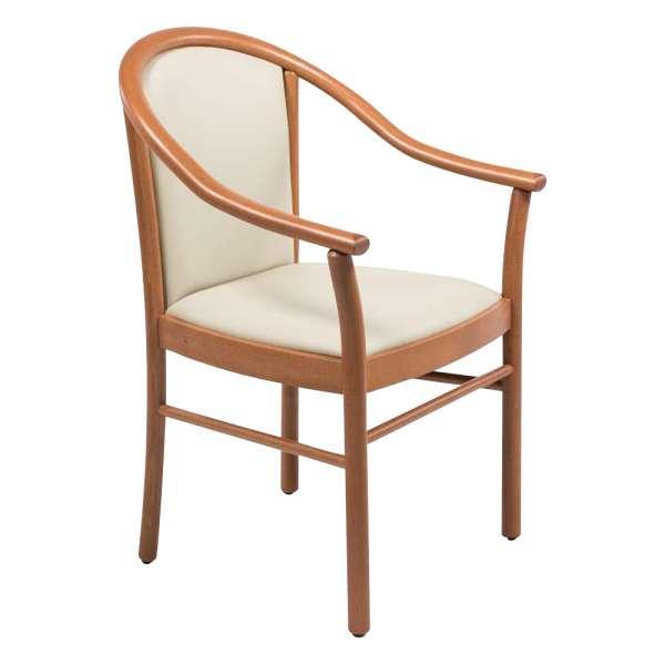 Fauteuil bridge de salon beige en bois avec assise et dossier rembourrés - Manuela - 6