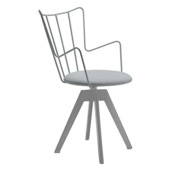 Chaise pivotante design en synthétique gris et métal assise blanche - Well  - 1