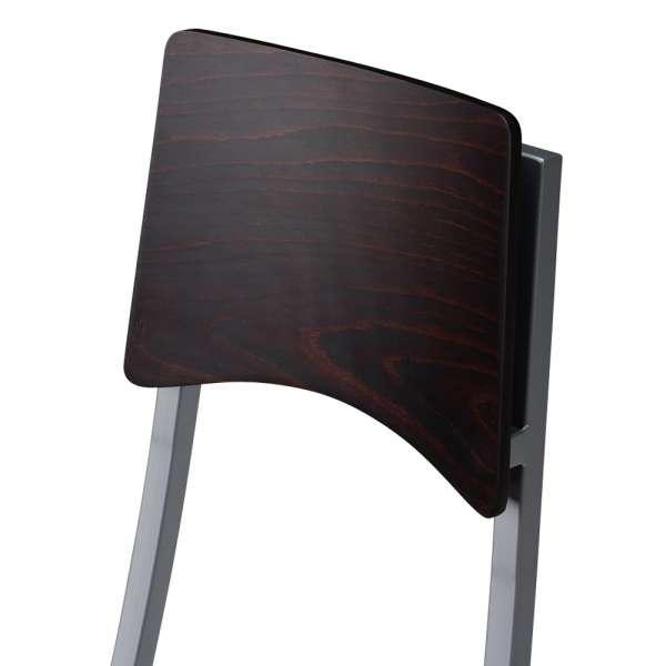 Chaise de cuisine en métal et synthétique dossier bois wengé - Ophélie 2 - 3