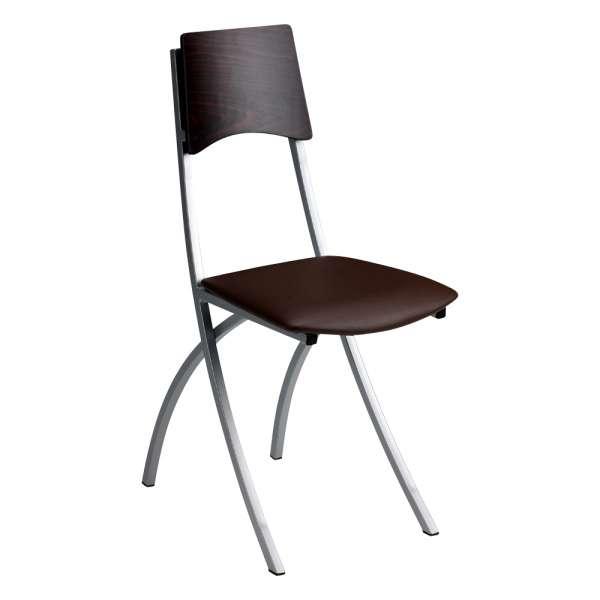 Chaise de cuisine en métal et synthétique dossier bois wengé - Ophélie - 1