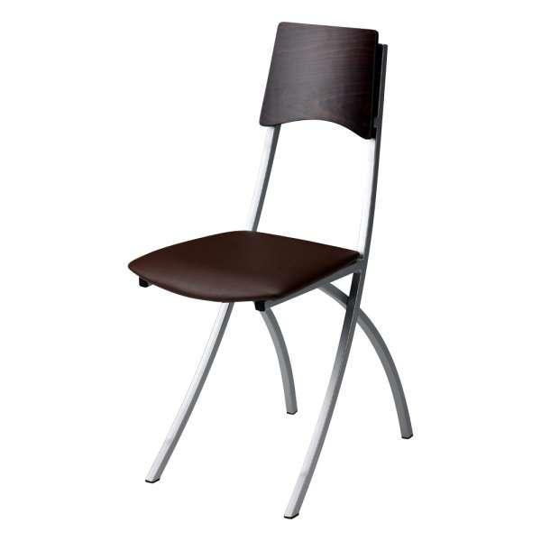 Chaise de cuisine en métal et synthétique dossier bois wengé - Ophélie - 2