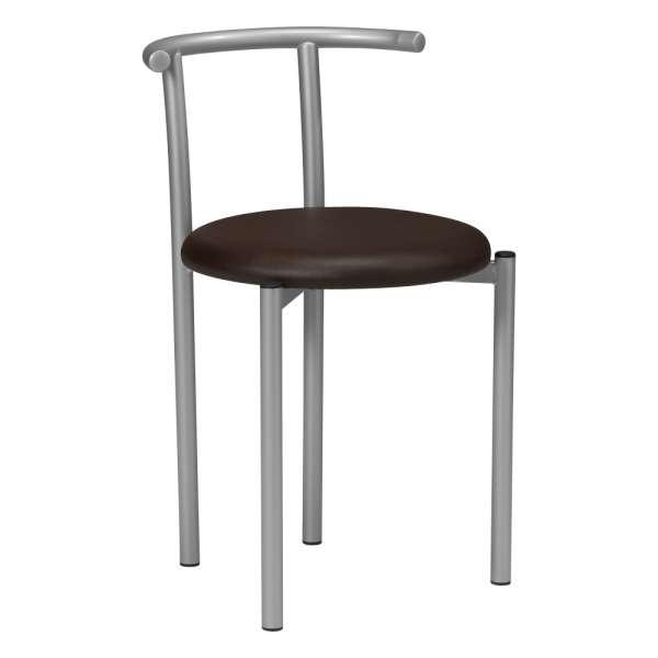 Chaise moderne dossier bas en métal et synthétique café - Adèle - 1