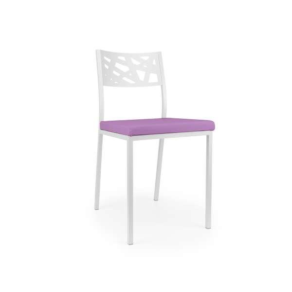 Chaise de cuisine assise rembourrée violet avec dossier aux motifs géométriques ajourés - Tirza - 4
