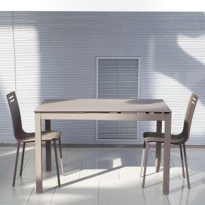Table de cuisine petit espace en céramique marron avec allonge - Céleste
