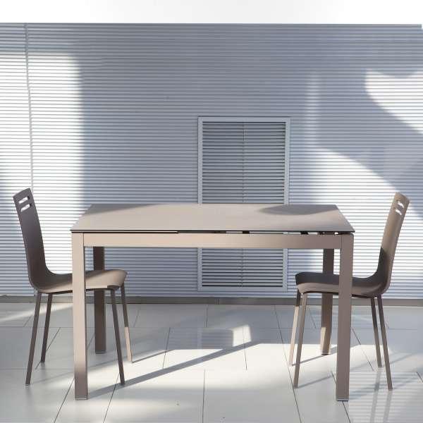 Table de cuisine petit espace en céramique marron avec allonge - Céleste - 1