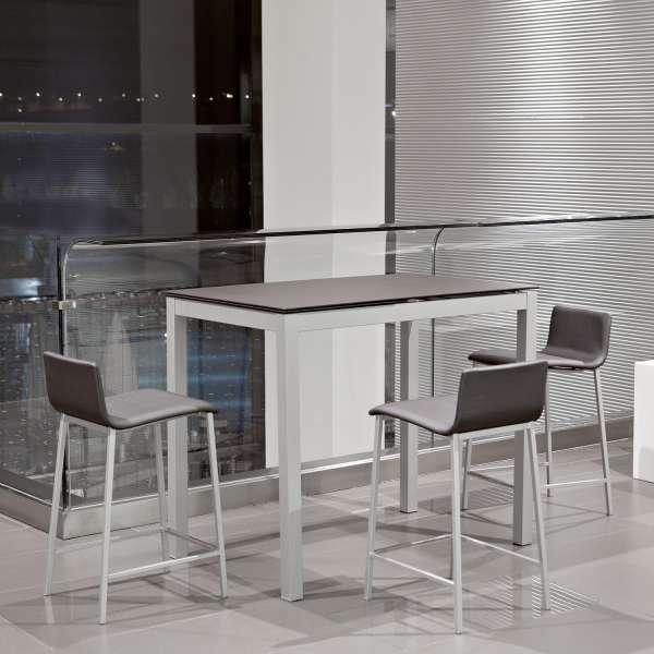 Table snack de cuisine petit espace en céramique marron avec allonge - Céleste - 1
