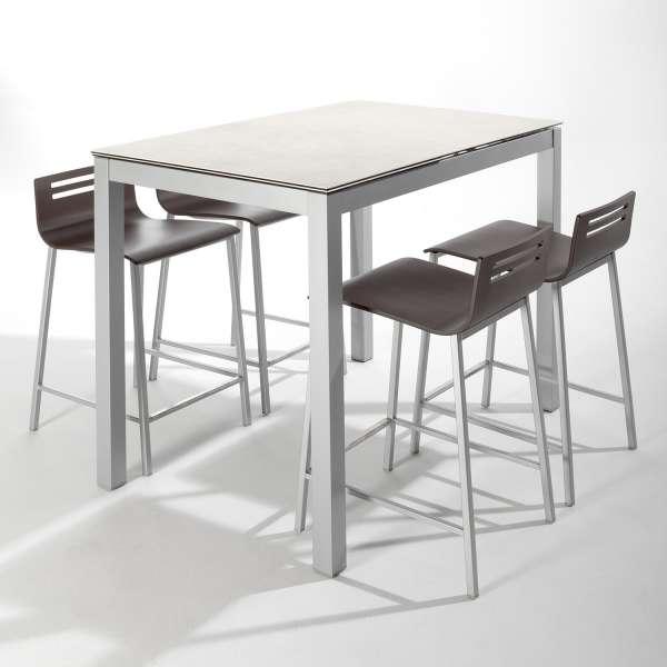 Table snack de cuisine petit espace en céramique blanche avec allonge - Céleste - 3