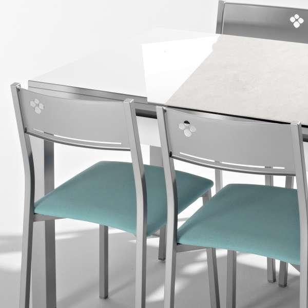 Table de cuisine extensible en céramique avec tiroir pieds alu - Iris - 3