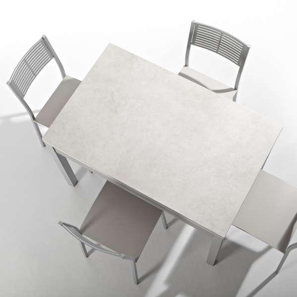 Petite table de cuisine extensible en céramique avec tiroir pieds alu - Iris - 2