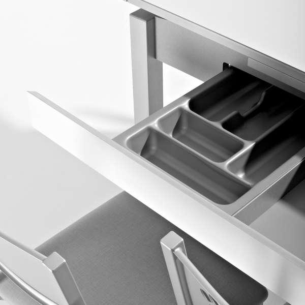 Table de cuisine en verre mauve avec allonges et tiroir pieds alu - Iris - 3