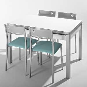 Petite table de cuisine en mélaminé blanc avec allonges et tiroir pieds alu - Iris