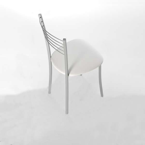 Chaise de cuisine contemporaine assise synthétique blanc structure en métal alu - Yolanda - 9