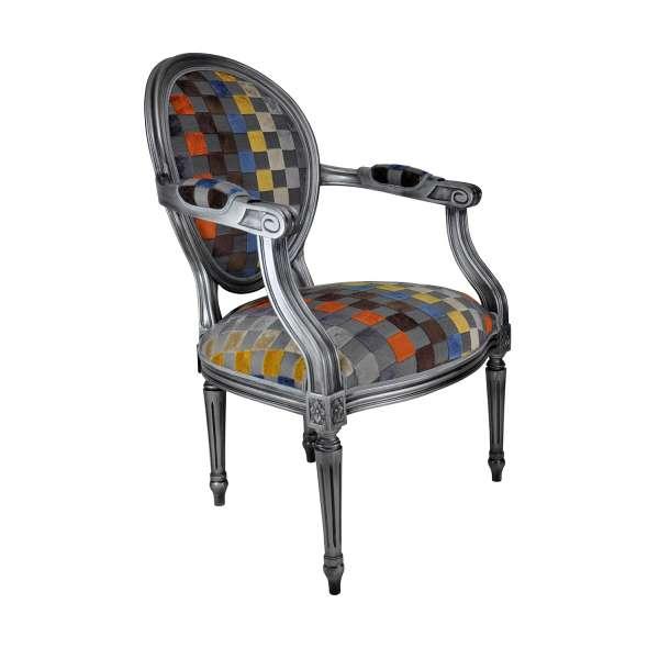 Fauteuil Louis XVI médaillon carré gris - Adrien - 20