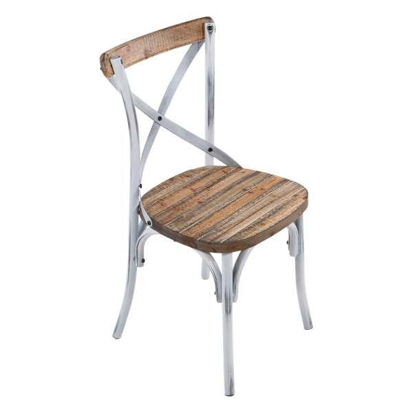 Chaise bistrot vintage en bois et métal patiné blanc - Madie - 1