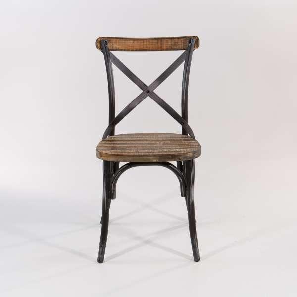 Chaise bistrot vintage métal patiné noir - Madie - 3