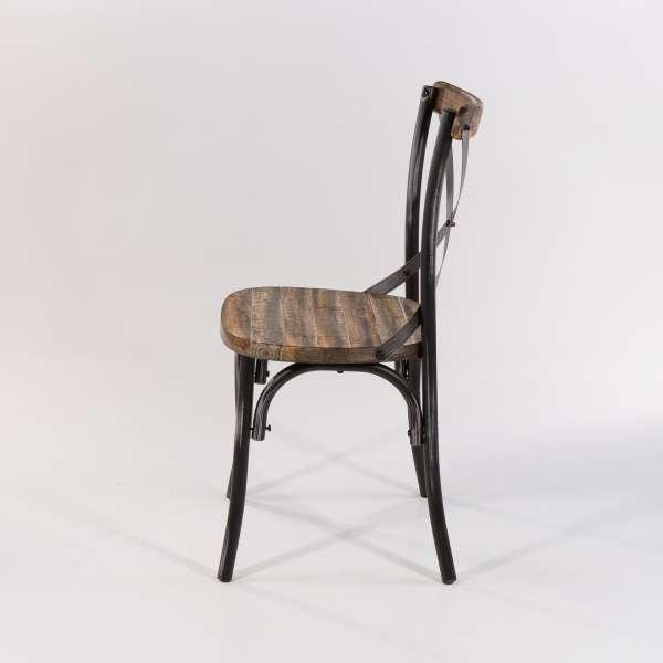 Chaise vintage métal patiné noir - Madie - 4