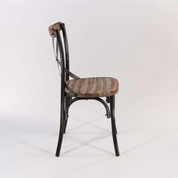 Chaise bistrot métal patiné noir - Madie - 5