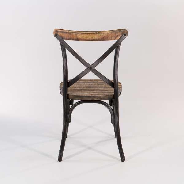 Chaise bistrot vintage métal patiné noir assise bois - Madie - 6