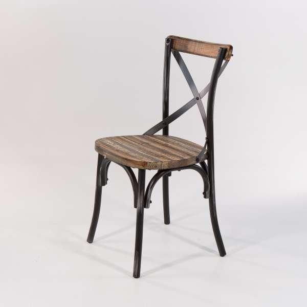 Chaise bistrot vintageassise bois et métal patiné noir - Madie - 7