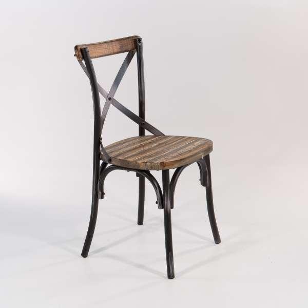 Chaise rétro en métal patiné noir avec assise bois - Madie - 8