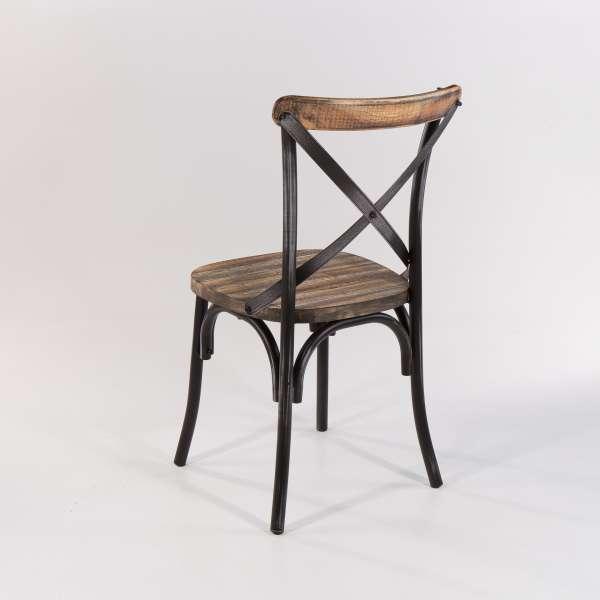 Chaise bistrot vintage métal patiné noir - Madie - 9