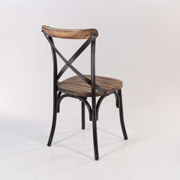 Chaise vintage métal patiné noir assise bois - Madie - 10
