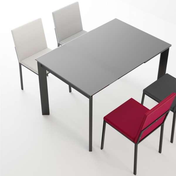Table petit espace extensible en verre noir - Poker - 2