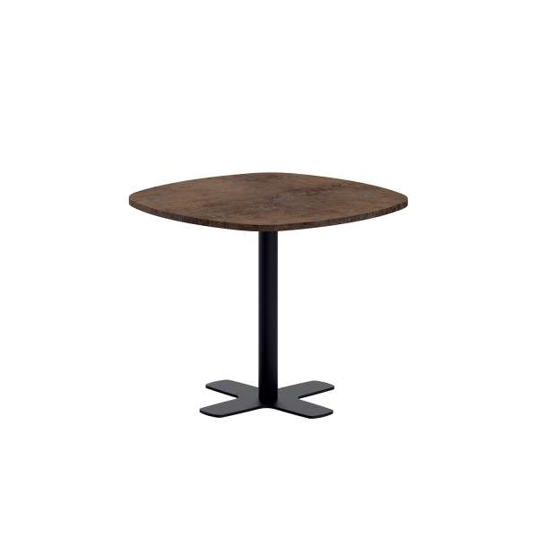 Table de cuisine carrée bords arrondis en stratifié avec pied central - Spinner