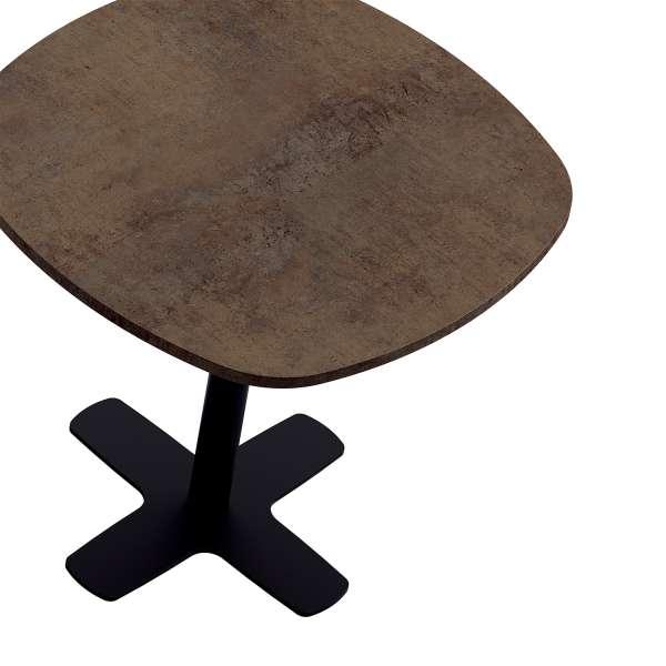 Table de cuisine carrée en stratifié avec pied central métallique noir- Spinner - 3