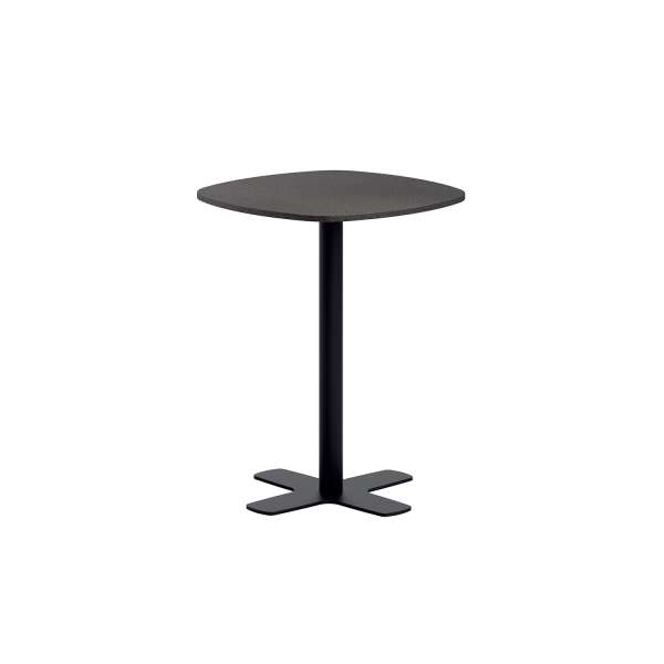 Table snack de cuisine en stratifié avec pied central coins arrondis - Spinner - 1
