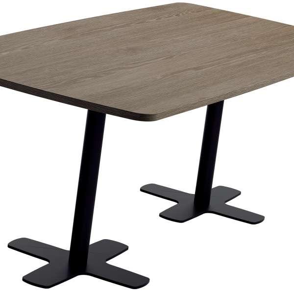 Table en stratifié aux coins arrondis avec deux pieds en métal noir - Spinner 2 - 3