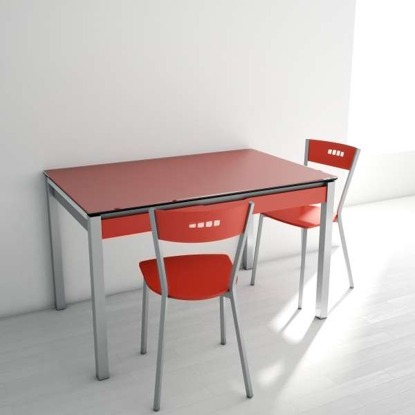 table de cuisine en verre extensible avec tiroir camel. Black Bedroom Furniture Sets. Home Design Ideas