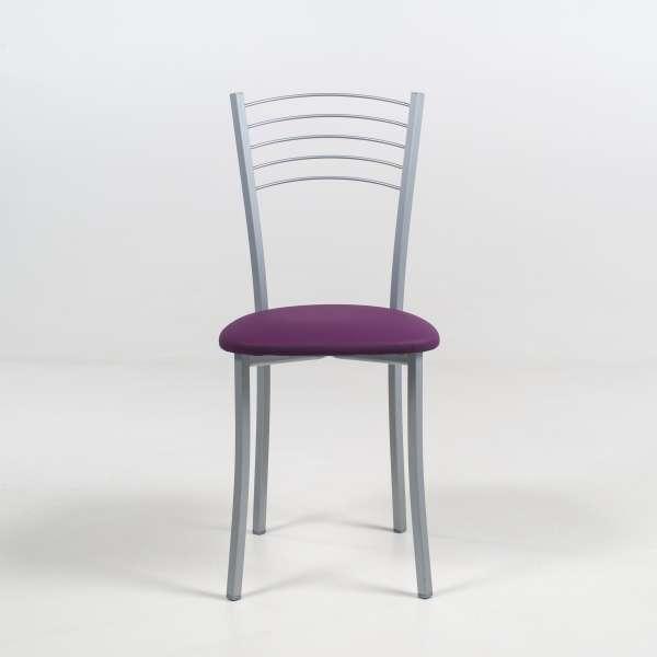 Chaise de cuisine contemporaine assise synthétique mauve structure en métal alu - Yolanda - 3